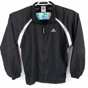 Adidas Black & White Full Zip Windbreaker Jacket Spring Coat, Mens Large